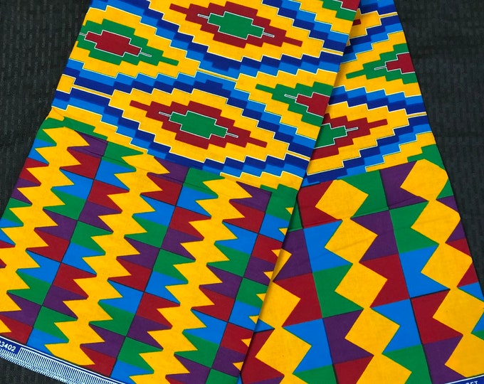 K618 6 yard yellow/ red/ Blue kente Fabric/ kente Wax print/ kente cloth/ Material/ tribal print