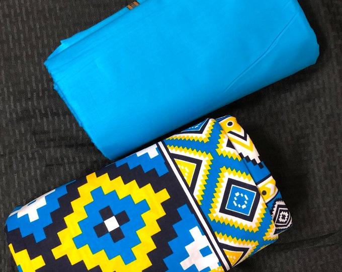 MDM4 3 yds each blue yellow mud cloth print mix aNd Match African Wax/ African Fabric/ankara/ Material/ decor pillows