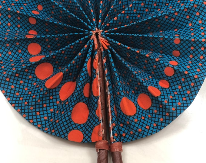 Blue orange Kente Ankara african wedding favor ethnic print fabric round windmill style handmade hand fan with leather trim folding