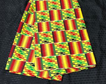 K651 6 yard yellow/ red/ green kente african Fabric/ kente Wax print/ kente cloth/ Material/head wrap