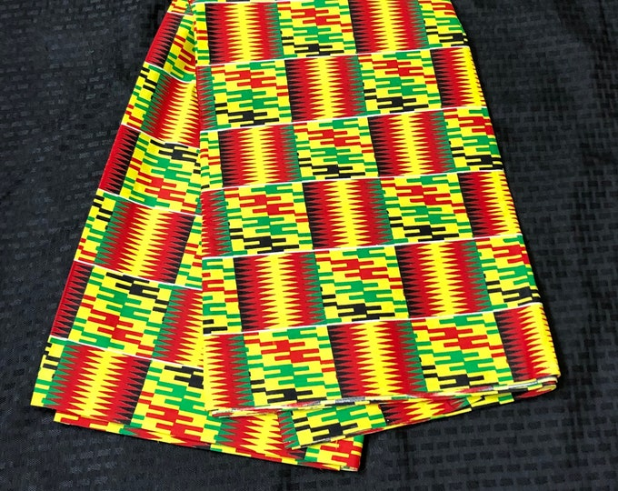 K651 6 yard yellow/ red/ green kente african Fabric/ kente Wax print/ kente cloth/ Material/head wrap