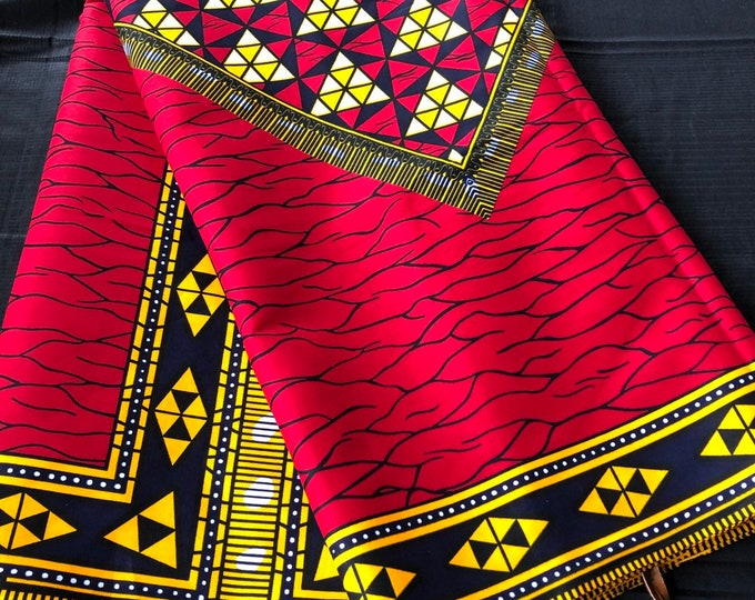African Fabric per yard Red/ Yellow black broken plate  /African Wax print/ Ankara for Dress/ African cloth dolls/ African decor