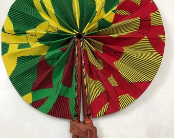 Green red yellow Ankara african wedding favor ethnic print fabric round windmill style handmade hand fan with leather trim folding