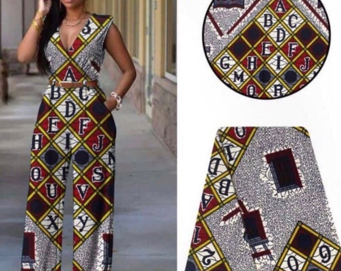 A6492 6 yards African fabric White/ yellow black red alphabet number design African Wax print: Ankara for Sew Dresses/African art/tribal
