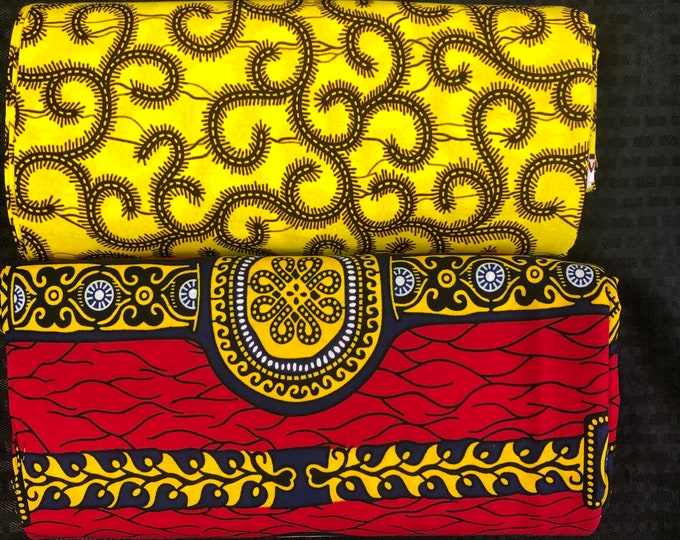 MM462 Mix Match african fabric pair Red/ Yellow African Fabric/ ankara/ african Wax Print/ ethnic print/ African Material/ Doll Cloth