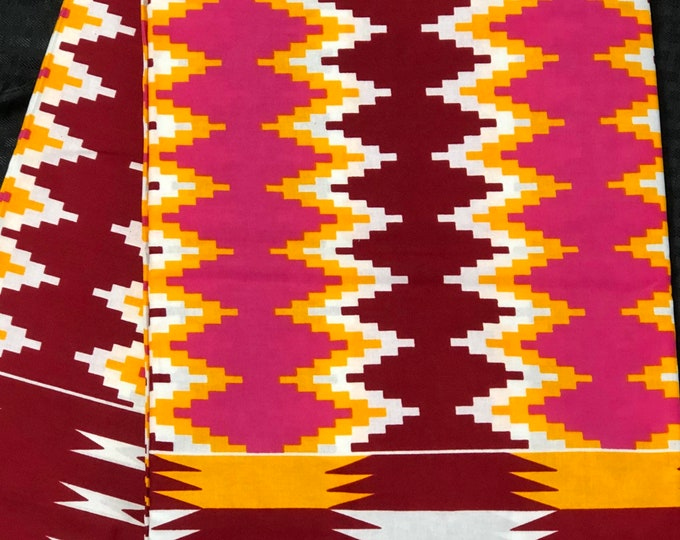 K647 6 yard yellow/burgundy red/ Blue/ fuchsia pink kente Fabric/ kente Wax print/ kente cloth/ Material/ tribal print