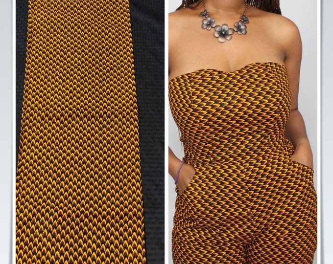 FS06 6 yards Yellow/gold red/fish scale/ arrow/ honeycomb African Fabric/African Wax print/ Ankara for Sew Dress/ African Art/ cloth dolls