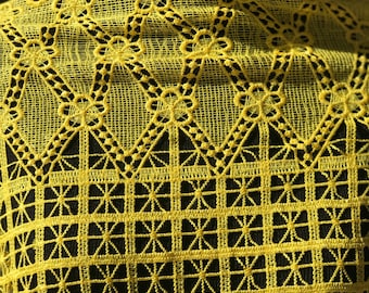 Vibrant Yellow Cord African Lace 5 yards