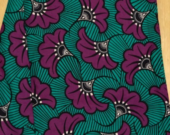 TP12 African fabric per yard purple white  teal turquoise floral African Wax print/ Ankara for Dress/ African cloth dolls/ African d