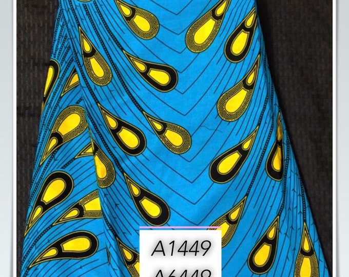 A1449 african fabric per yard blue Yellow rain drop tear drop ethnic print/ quilting/ Sewing fabric/ Material: African print