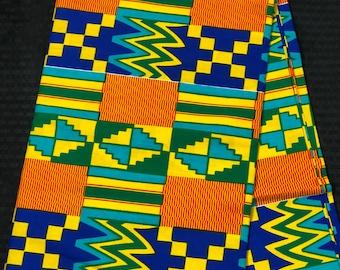 K136 african per yard yellow/ orange/ Blue green kente african Fabric/ kente Wax print/ kente cloth/ Material/head wrap/ethnic tribal print