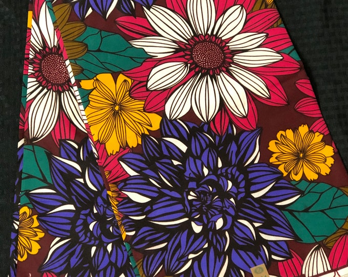 African fabric per yard purple pink yellow floral African Fabric/African Wax print/ Ankara for Dress/ African cloth dolls/ African decor