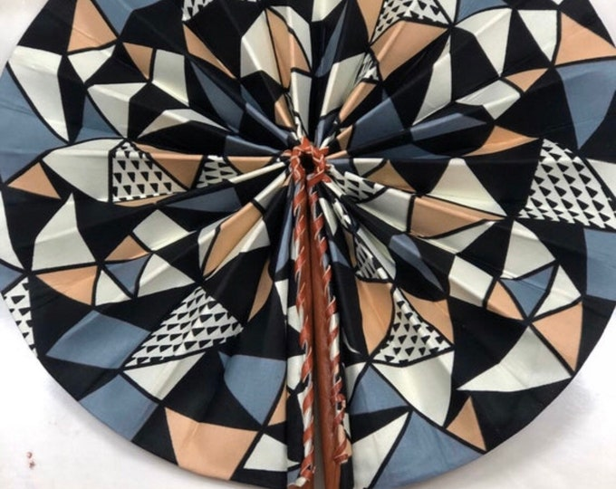 Black white Gray Ankara african wedding favor ethnic print fabric round windmill style handmade hand fan with leather trim folding