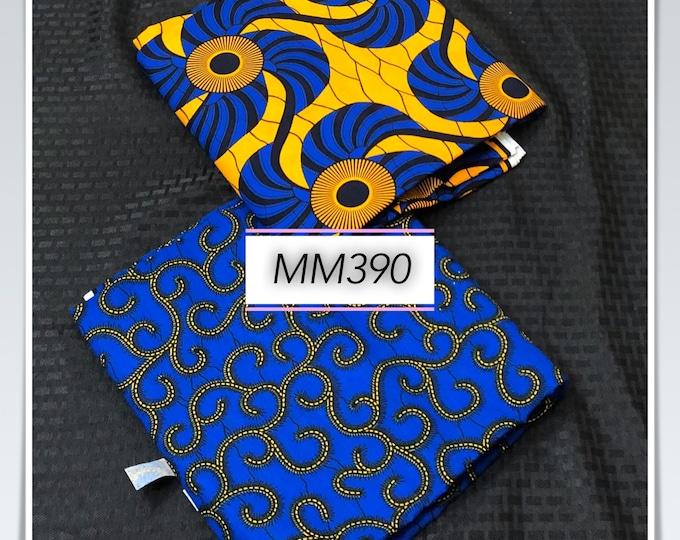 MM390 3 yard each Blue/ Yellow Mix Match set. Fan macaroni African Fabric/ African Wax print/ Ankara/ African Material Cloth