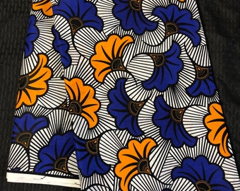 Per yard african fabric white Blue Yellow floral salad / African Wax print/ Ankara for African art craft/ cloth dolls/ home decor/ quilting