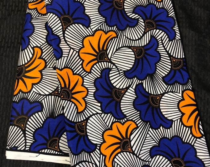 6yd white Blue Yellow floral salad Africa Fabric/ African Wax print/ Ankara for African art craft/ cloth dolls/ home decor/ quilting
