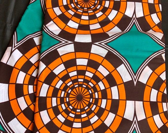 African fabric per yard Teal Blue orange brown geometric circle African Wax print/ Ankara/ African Material/ cloth/ wrapper
