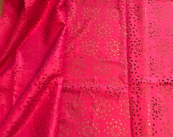 5 yards Fuschia Laser cut polyester lace/african Lace/ wedding decor Lace/ floral arrangement lace/ Sewing Dress Lace
