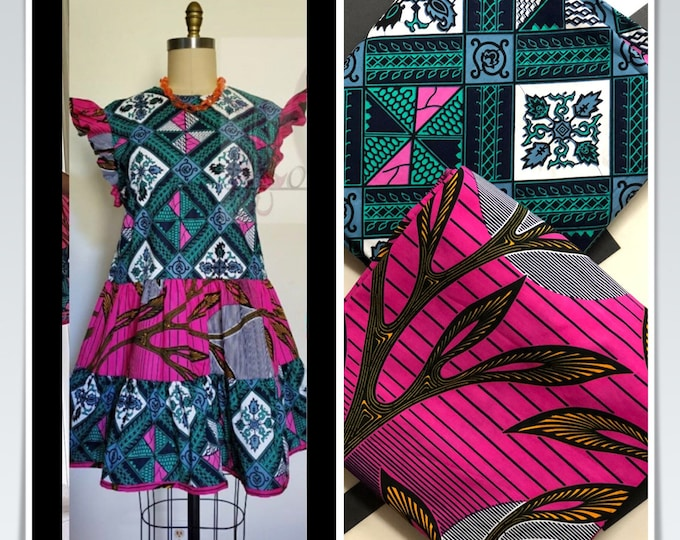 MM431 Lovindia's 3 yards Each Pink /green teal sun Mix and Match African Fabric/ ankara/ african print/ Material/ ethnic print/Doll cloth
