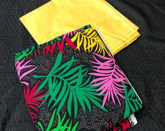 AB16  green pink red yellow Ankara Bazin mix  African Fabric/ ankara/ african print/ Material/ ethnic print/Doll cloth