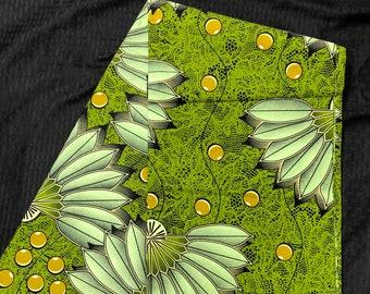 African fabric per yard Green yellow  Fan leaf African Wax print/ Ankara/ African Material/ cloth/ wrapper
