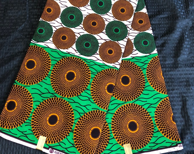 6 yards  White / Brown/ green disc bullseye Design African Fabric/ Ankara/ African Wax print/ Material/ cloth/ ntoma