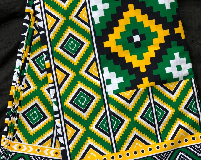 GY12 African fabric per yard Green yellow white Mudcloth kente African Wax print/ Ankara/ African Material/ cloth/ wrapper