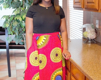 Red yellow floral Long fabric skirt with  pockets / ethnic skirt / dashiki skirt / women wear/Ankara/African wax print skirt