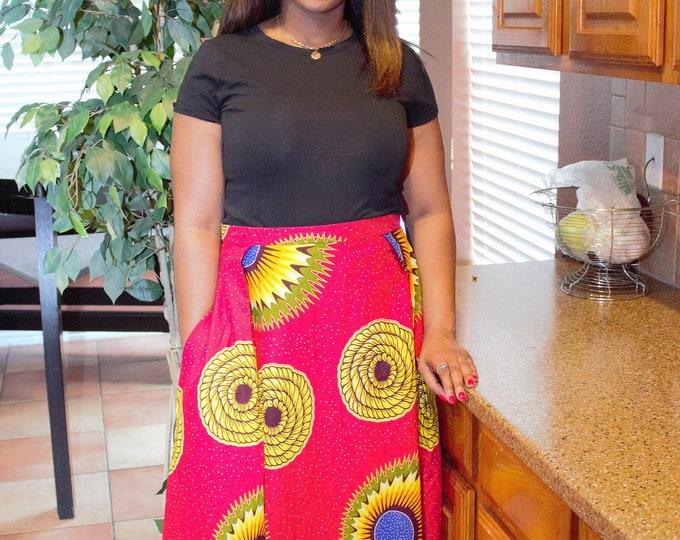 Red yellow floral Long fabric skirt with  pockets / ethnic skirt / dashiki skirt / women wear/Ankara/African wax print skirt