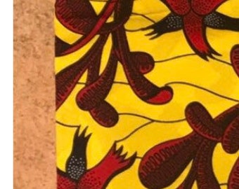 A6145 Gorgeous Red/ Yellow floral African Fabric/African Wax print/ Ankara for Dress/ African cloth dolls/ African decor