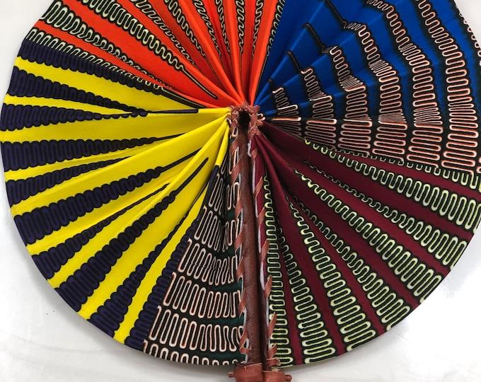 Orange yellow blue Purple Ankara african wedding favor ethnic print fabric round windmill style handmade hand fan with leather trim folding