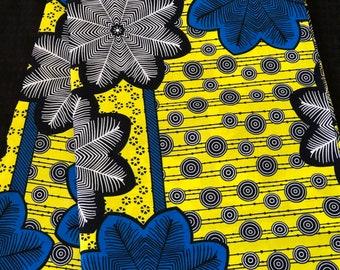 BLG62 6 yard yellow lime green blue black floral African Fabric/ ankara/ african Wax Print/ ethnic print/ traditional print