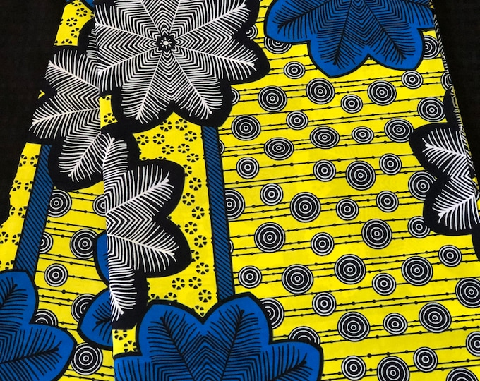 BLG62 6 yard yellow lime green blue black floral African Fabric/ ankara/ african Wax Print/ ethnic print/ traditional print
