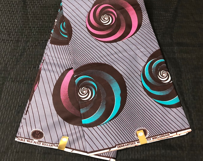 6 yards lilac purple pink teal spiral Ethnic Print/african fabric/ african home decor/ African Wax print/ Ankara