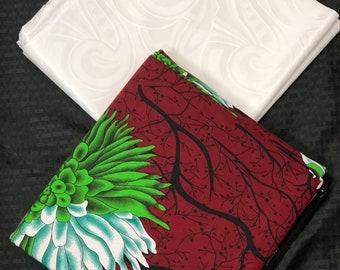 AB8 Green burgundy red White Ankara/Bazin mix African Wax/ African Fabric/ankara/ Material/ decor pillows/ african cloth dolls