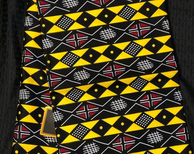 RY15 mud cloth African fabric by yard White/ yellow black red / gold African Wax print: Ankara for Sew Dresses/African art/tribal print