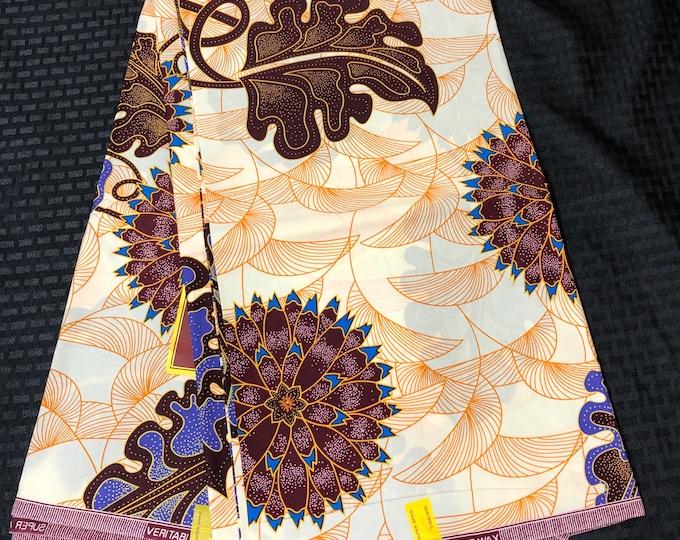 6 yard off white orange/ purple/ Blue Leaf floral african Fabric/ kente Wax print/ kente cloth/ Material/head wrap