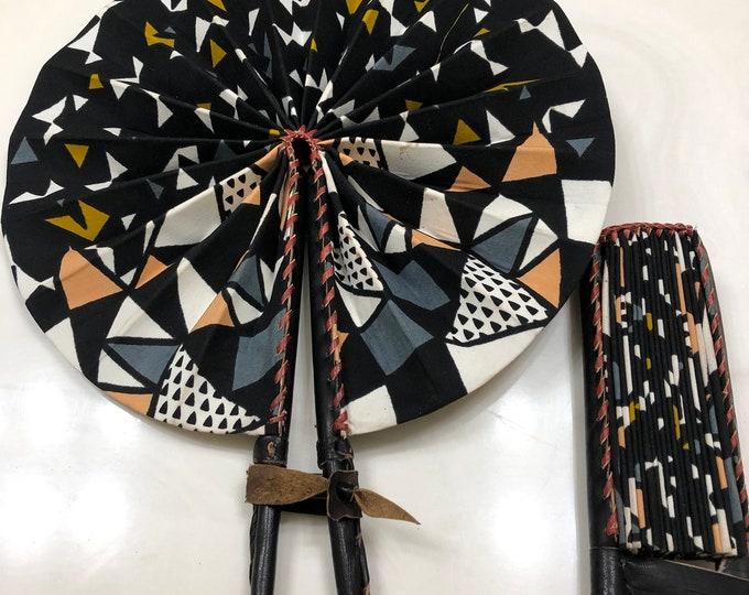 Black white Gray Ankara african wedding favor ethnic print fabric round windmill style handmade hand fan with leather trim folding