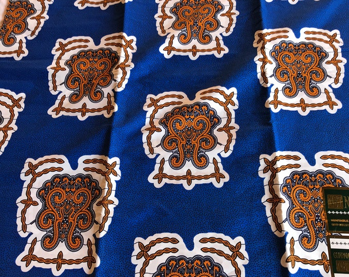 A6554 6 yard royal Blue white brown turtle shell design African fabric/ ankara/ african Wax Print/ ethnic print/ African material/ home deco