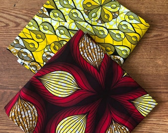 MM444 Mix Match african fabric pair floral Red/ Yellow African Fabric/ ankara/ african Wax Print/ ethnic print/ African Material/ Doll Cloth