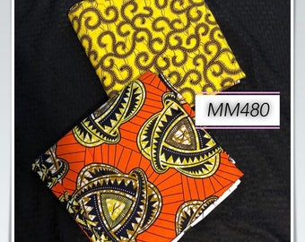 MM480 Mix Match african fabric pair Red/ orange Yellow African Fabric/ ankara/ african Wax Print/ ethnic print/ African Material