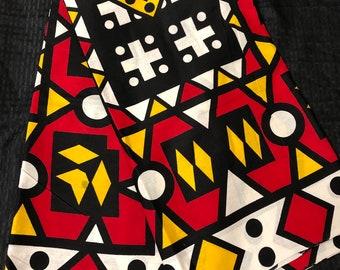 11447078b5e5 AS011 African fabric by yard White  yellow black red Angolan samacaca    African Wax print  Ankara for Sew Dresses African art tribal print