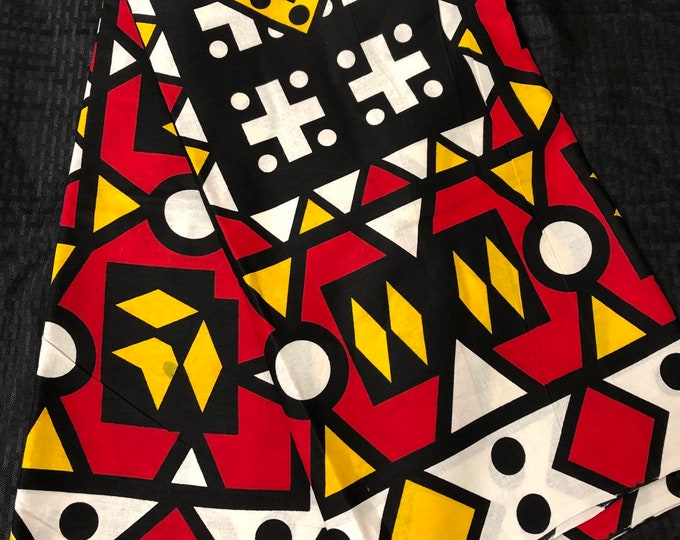 AS011 African fabric by yard White/ yellow black red Angolan samacaca / African Wax print: Ankara for Sew Dresses/African art/tribal print