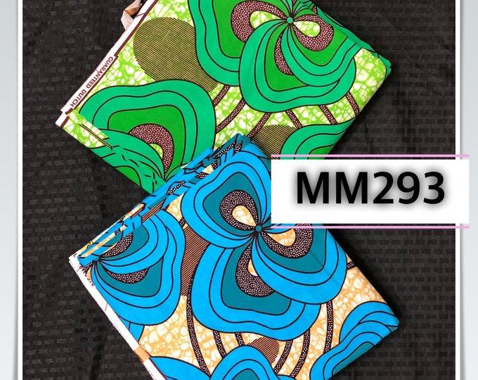 MM293 3 yards each Blue/ Green  Mix aNd Match African Wax/ African Fabric/ankara/ Material/ decor pillows/ african cloth dolls