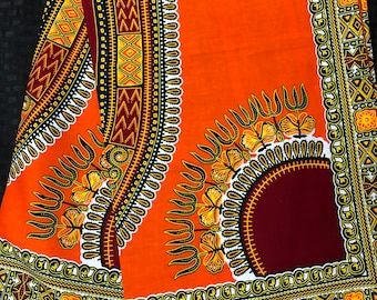 A6282 orange Dashiki Angelina 6yd wholesale African Fabric/ African Wax print/ Ankara for sew Dress/ Quilt/ african home decor/art craft
