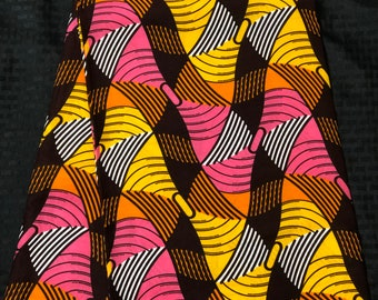 PIY1 african fabric per yard pink yellow white brown African Wax print/ Ankara for Sewing Dress/ African hats/ art crafts/do