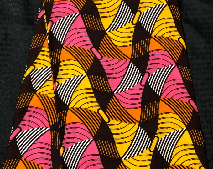 PIY6 6 yard pink yellow white brown African Fabric/ African Wax print/ Ankara for Sewing Dress/ African hats/ art crafts/do