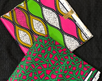 MM208 3 yards Each fuschia Pink /kelly green white Mix and Match African Fabric/ ankara/ african print/ Material/ ethnic print/Doll cloth