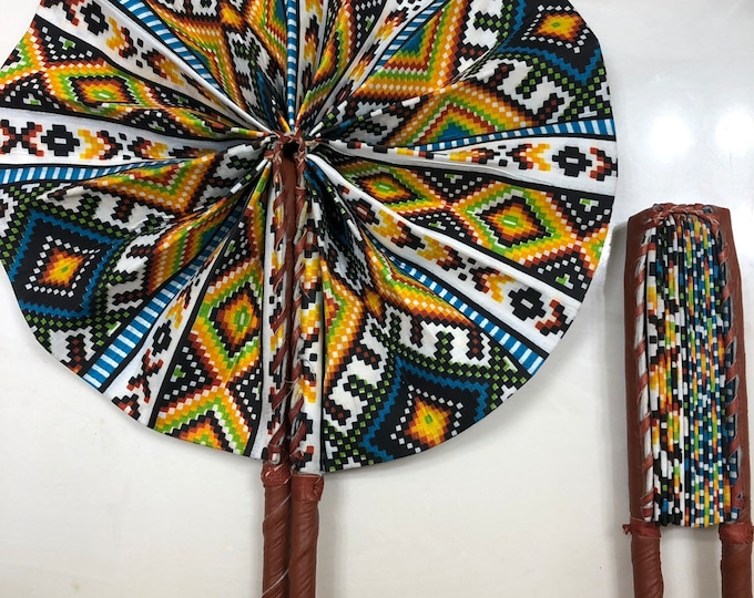 Sea Blue yellow white red Ankara african wedding favor ethnic print fabric round windmill style handmade hand fan with leather trim folding