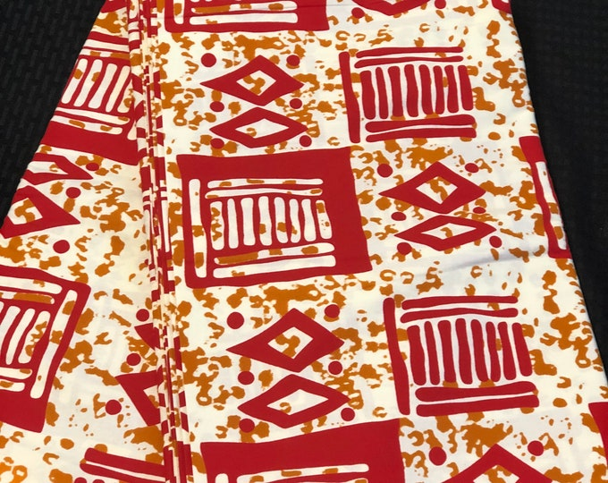 RWB1 African fabric per yard red white brown mud cloth African Wax print: Ankara for Sewing Dresses/ shirts/ African art/ Doll/decor